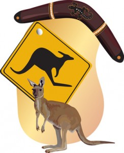 Die Symbole von Australien während des Au Pair